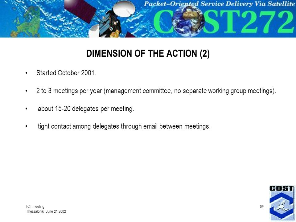 TCT meeting Thessaloniki June 21,2002 6# DIMENSION OF THE ACTION (2) Started October 2001.
