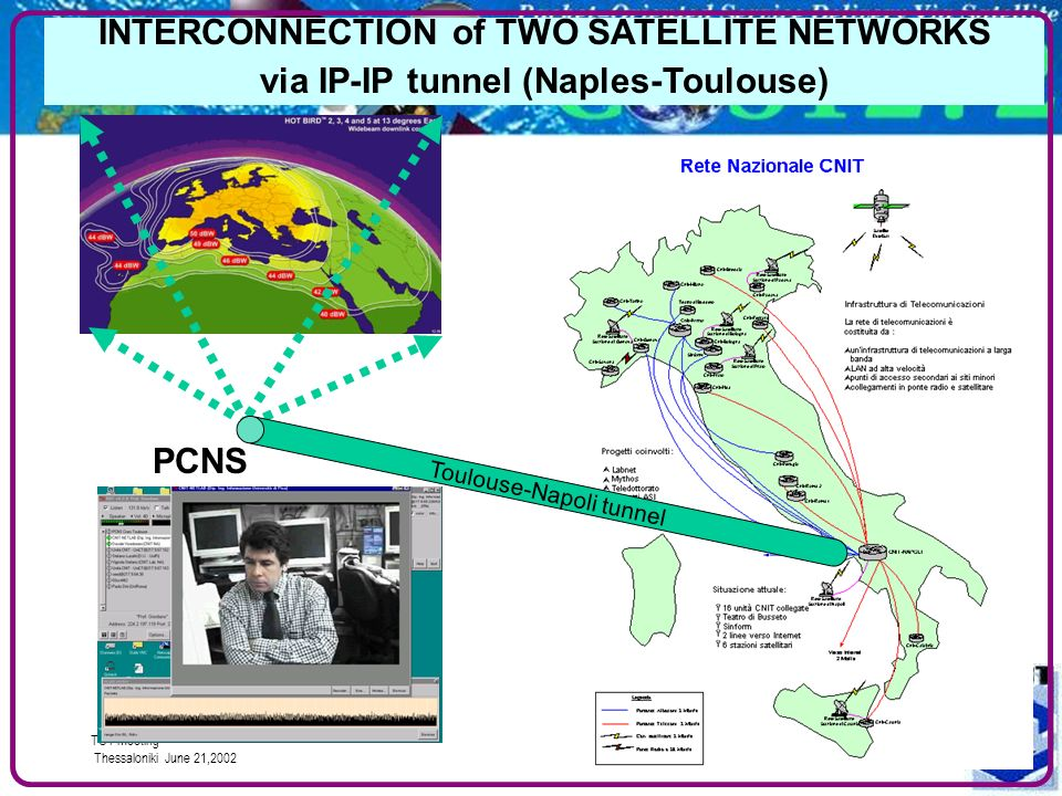 TCT meeting Thessaloniki June 21,2002 8# INTERCONNECTION of TWO SATELLITE NETWORKS via IP-IP tunnel (Naples-Toulouse) Toulouse-Napoli tunnel PCNS