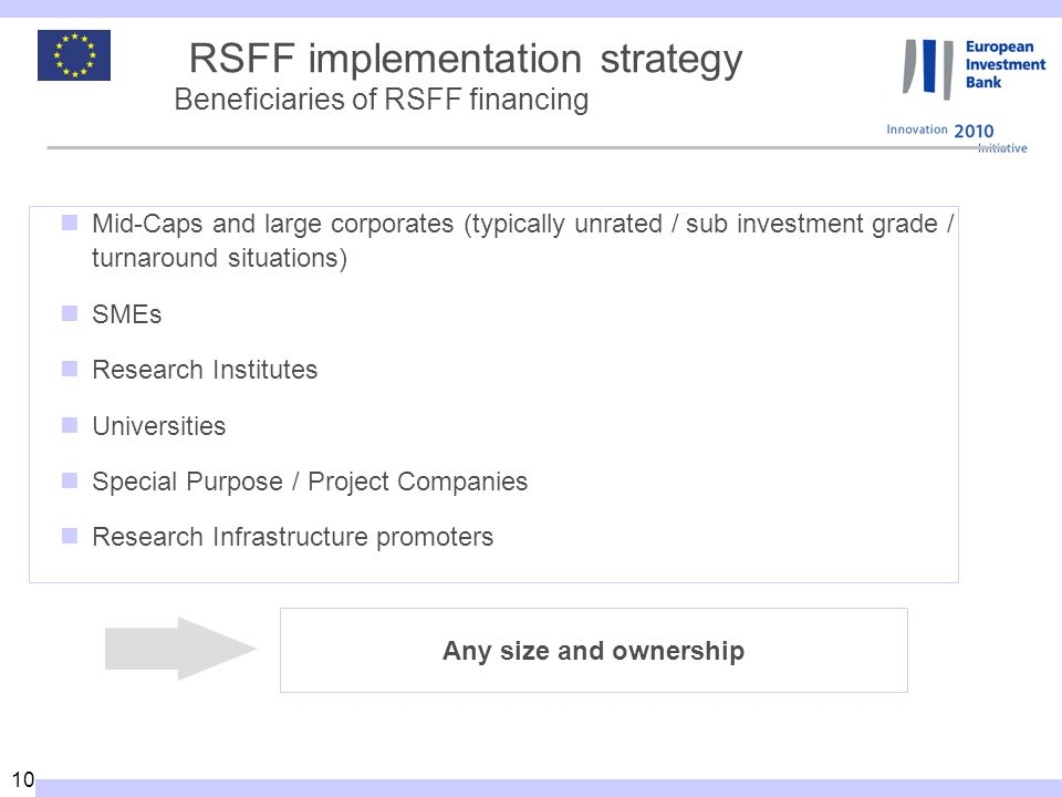 10 RSFF implementation strategy Beneficiaries of RSFF financing Mid-Caps and large corporates (typically unrated / sub investment grade / turnaround situations) SMEs Research Institutes Universities Special Purpose / Project Companies Research Infrastructure promoters Any size and ownership