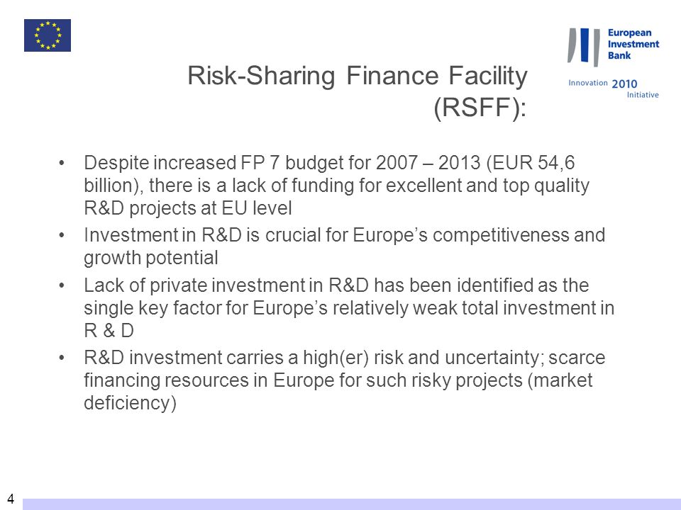 5 Risk-Sharing Finance Facility Added value An innovative financing mechanism to: Foster increased private investment in research by improving access to loan finance.