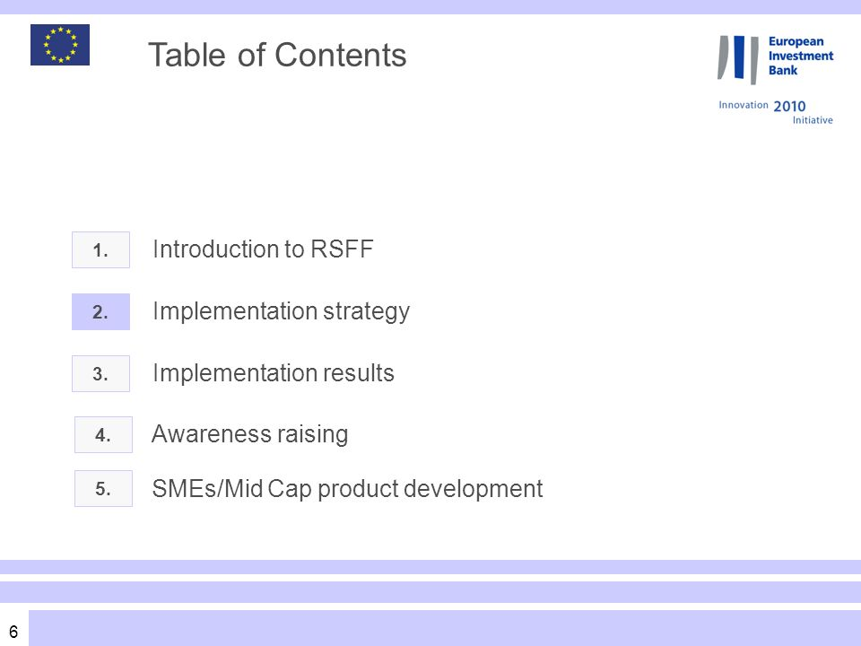 7 RSFF implementation strategy Risk categories RSFF Risk Coverage Range RSFF is a debt based instrument not a grant Financing does not involve a subsidy element The facility does not concern risk capital such as venture capital RSFF concerns companies or projects mature enough to demonstrate capacity to repay and service debt on the basis of a credible business plan.