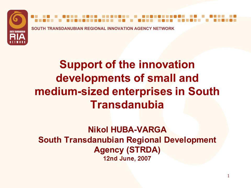 1 Support of the innovation developments of small and medium-sized enterprises in South Transdanubia Nikol HUBA-VARGA South Transdanubian Regional Development Agency (STRDA) 12nd June, 2007