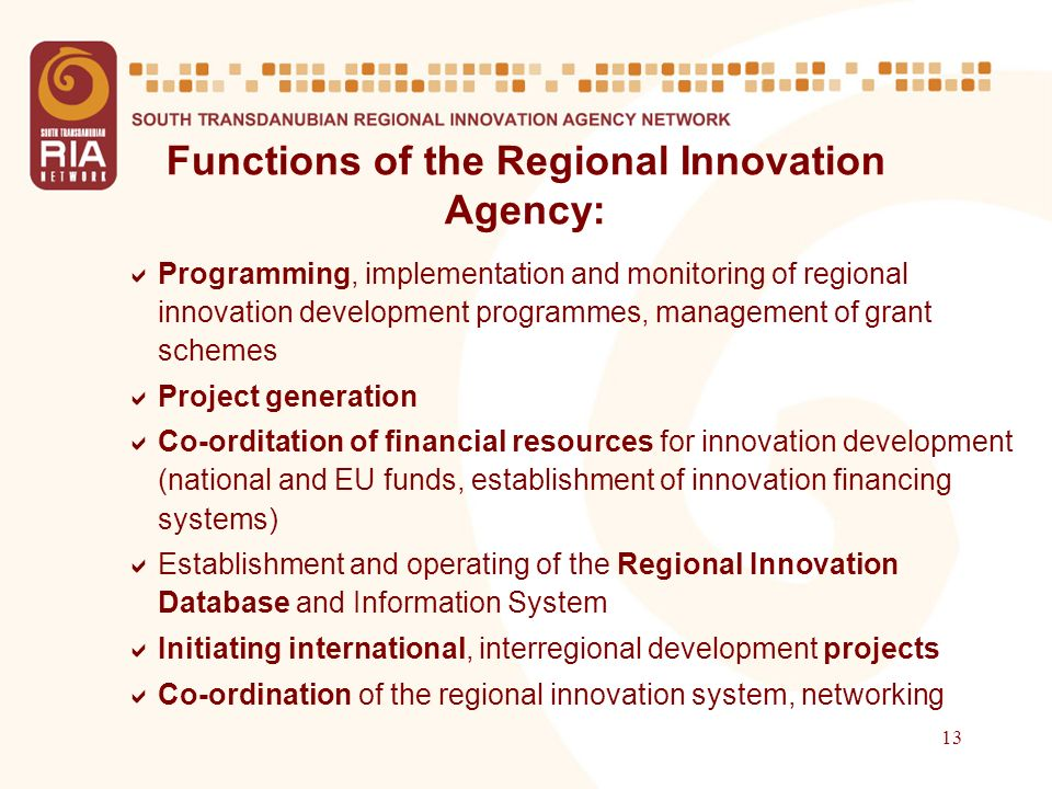 13 Functions of the Regional Innovation Agency: Programming, implementation and monitoring of regional innovation development programmes, management of grant schemes Project generation Co-orditation of financial resources for innovation development (national and EU funds, establishment of innovation financing systems) Establishment and operating of the Regional Innovation Database and Information System Initiating international, interregional development projects Co-ordination of the regional innovation system, networking