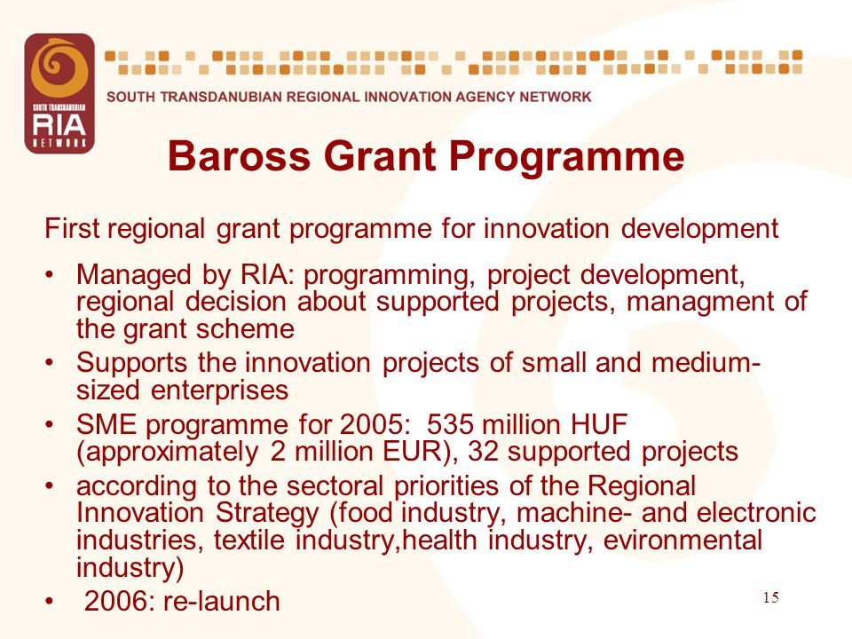 15 Baross Grant Programme First regional grant programme for innovation development Managed by RIA: programming, project development, regional decisio