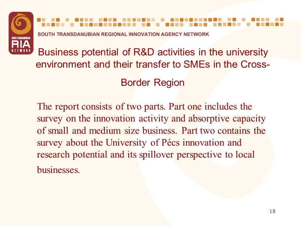 18 Business potential of R&D activities in the university environment and their transfer to SMEs in the Cross- Border Region The report consists of tw