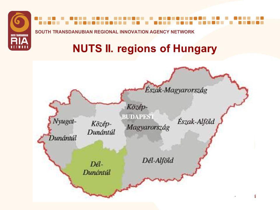 4 NUTS II. regions of Hungary