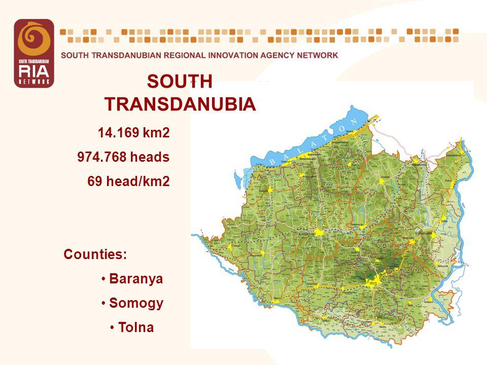 5 SOUTH TRANSDANUBIA 14.169 km2 974.768 heads 69 head/km2 Counties: Baranya Somogy Tolna