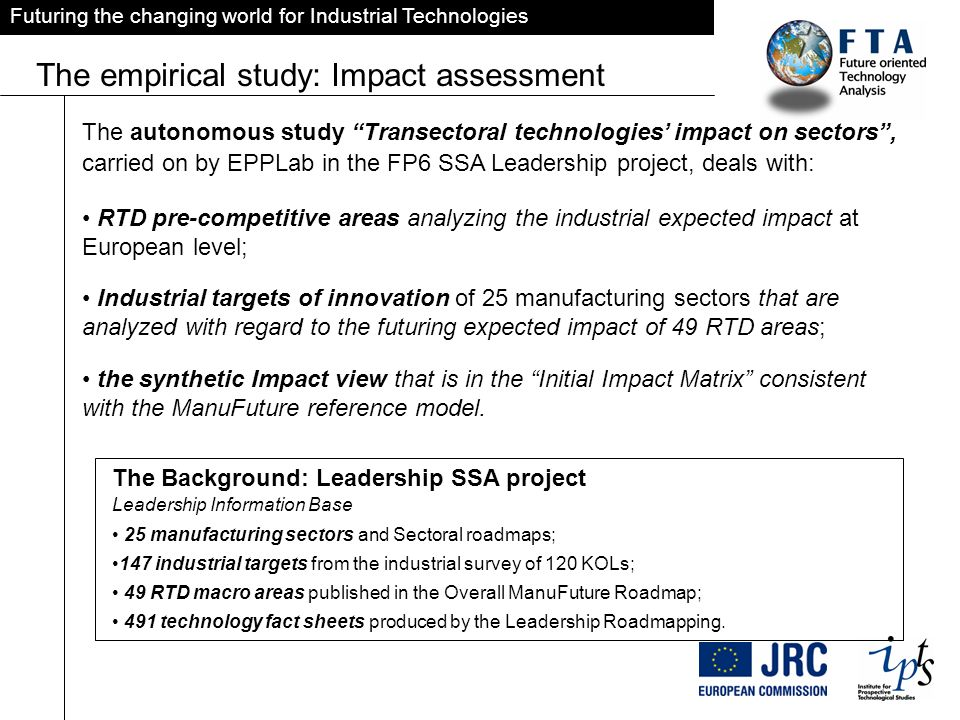 Futuring the changing world for Industrial Technologies The empirical study: Impact assessment The autonomous study Transectoral technologies impact on sectors, carried on by EPPLab in the FP6 SSA Leadership project, deals with: RTD pre-competitive areas analyzing the industrial expected impact at European level; Industrial targets of innovation of 25 manufacturing sectors that are analyzed with regard to the futuring expected impact of 49 RTD areas; the synthetic Impact view that is in the Initial Impact Matrix consistent with the ManuFuture reference model.