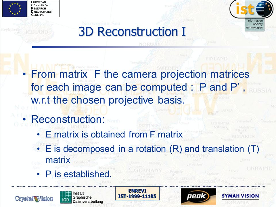 ENREVIIST-1999-11185 3D Reconstruction I From matrix F the camera projection matrices for each image can be computed : P and P, w.r.t the chosen proje
