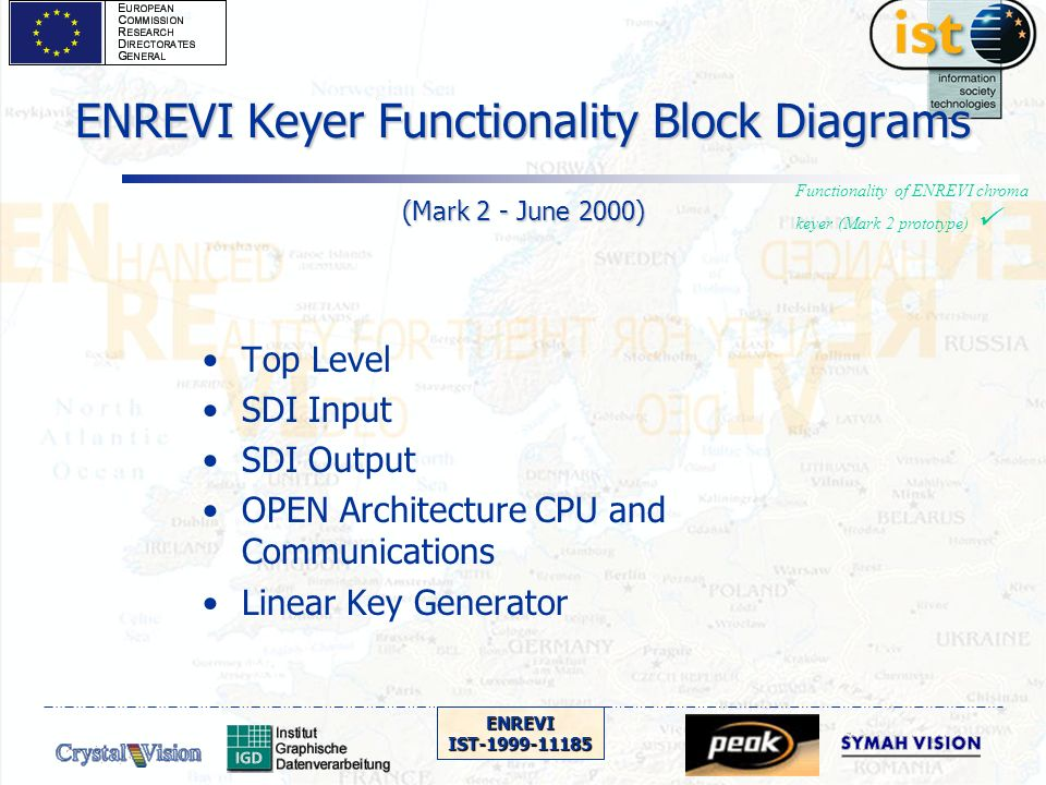 ENREVIIST-1999-11185 ENREVI Keyer Functionality Block Diagrams (Mark 2 - June 2000) Top Level SDI Input SDI Output OPEN Architecture CPU and Communications Linear Key Generator Functionality of ENREVI chroma keyer (Mark 2 prototype)