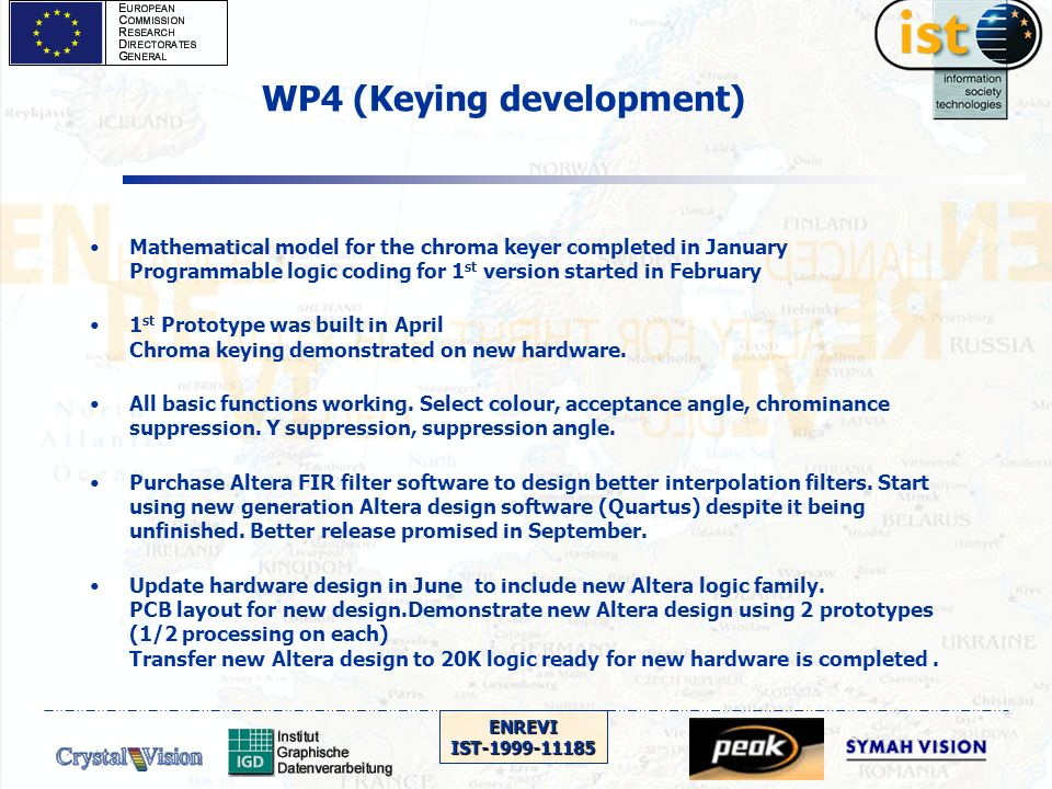 ENREVIIST-1999-11185 WP4 (Keying development) Mathematical model for the chroma keyer completed in January Programmable logic coding for 1 st version started in February 1 st Prototype was built in April Chroma keying demonstrated on new hardware.