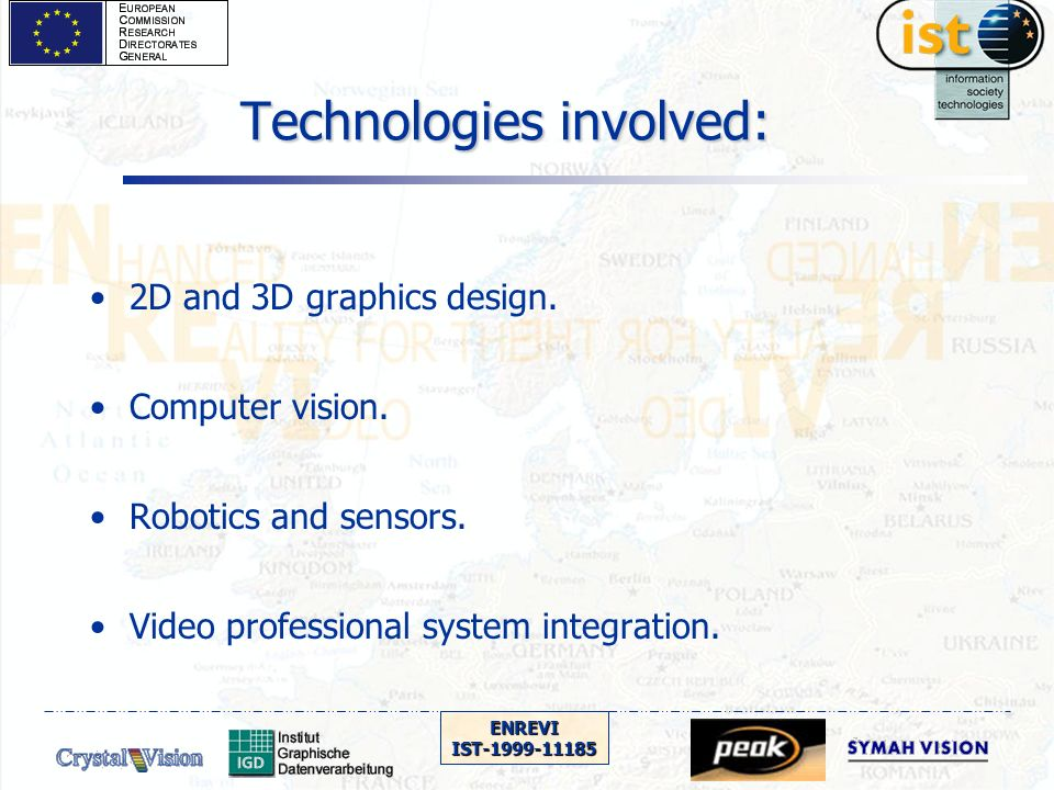 ENREVIIST-1999-11185 WP1 (Project management) Initial payment was transferred to consortium partners Consortium agreement is being circulated PISTE project has been contacted to study concertation potential Concertation subgroup on AR and VR imaging has been formed under the leadership of Fabio LAVAGETTO from University of Genova.