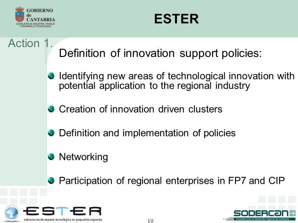 10 ESTER Definition of innovation support policies: Identifying new areas of technological innovation with potential application to the regional industry Creation of innovation driven clusters Definition and implementation of policies Networking Participation of regional enterprises in FP7 and CIP Action 1.