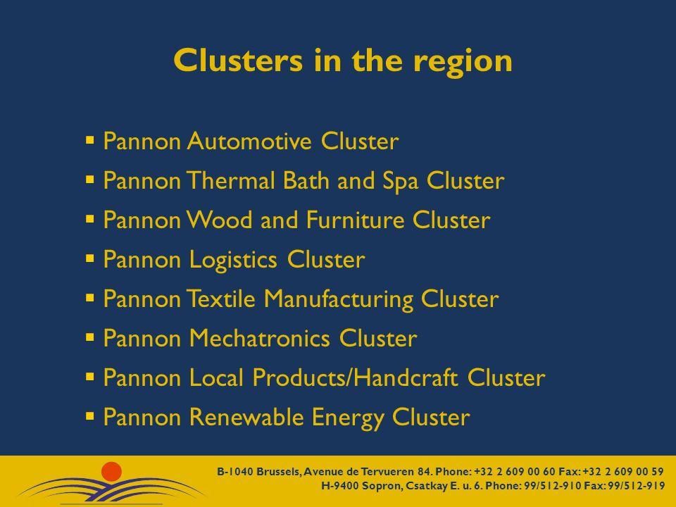 Clusters in the region Pannon Automotive Cluster Pannon Thermal Bath and Spa Cluster Pannon Wood and Furniture Cluster Pannon Logistics Cluster Pannon