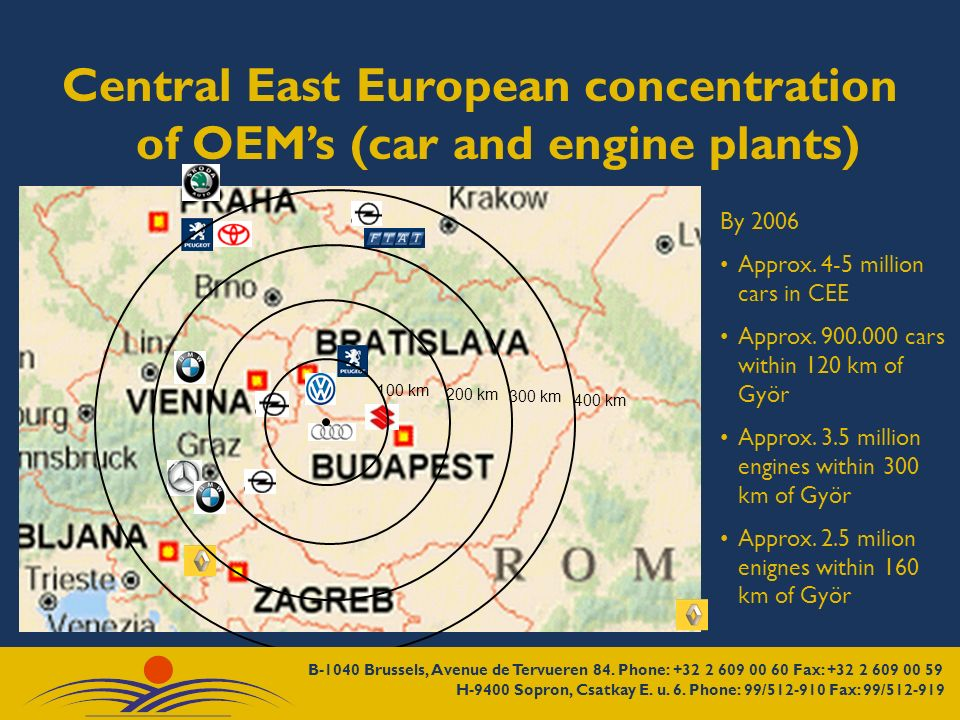 Central East European concentration of OEMs (car and engine plants) 100 km 200 km 300 km 400 km By 2006 Approx.