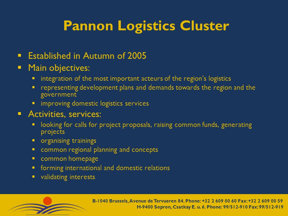 Pannon Logistics Cluster Established in Autumn of 2005 Main objectives: integration of the most important acteurs of the regions logistics representin
