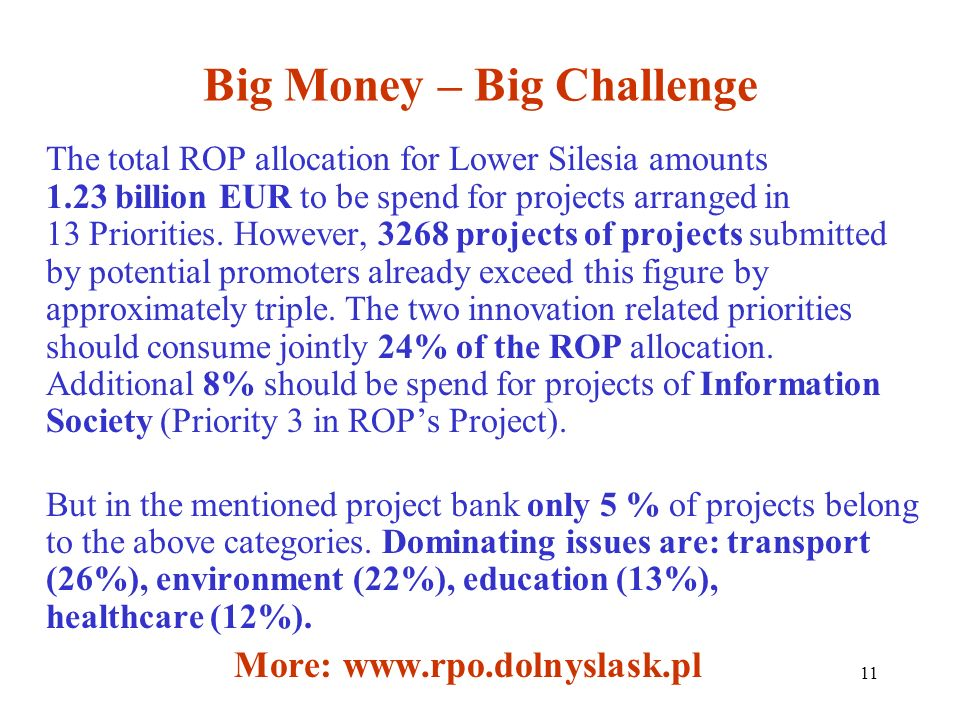 11 Big Money – Big Challenge The total ROP allocation for Lower Silesia amounts 1.23 billion EUR to be spend for projects arranged in 13 Priorities.