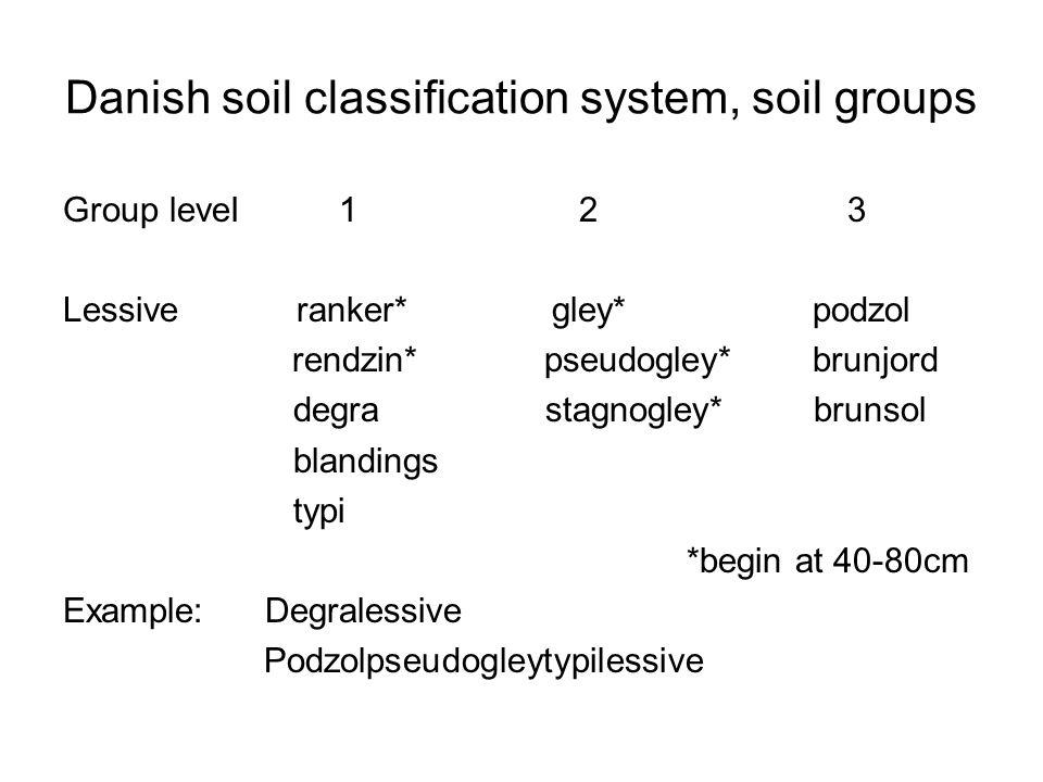 Danish soil classification system, soil groups Group leveI 1 2 3 Lessive ranker* gley* podzol rendzin* pseudogley* brunjord degra stagnogley* brunsol