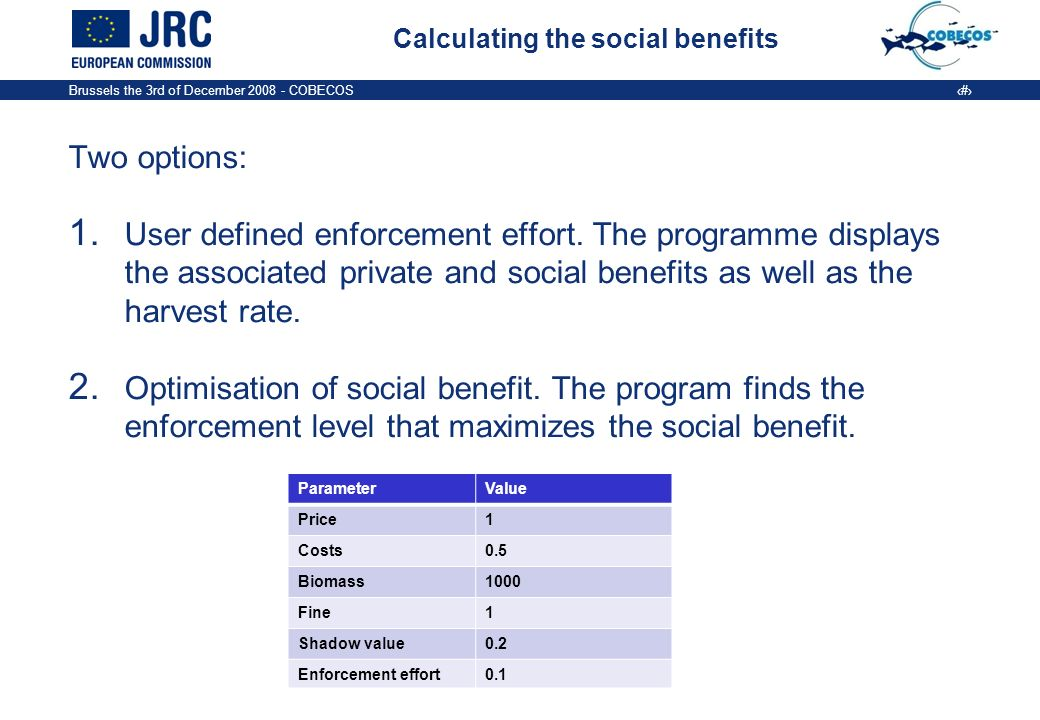 Brussels the 3rd of December COBECOS 8 Calculating the social benefits Two options: 1.