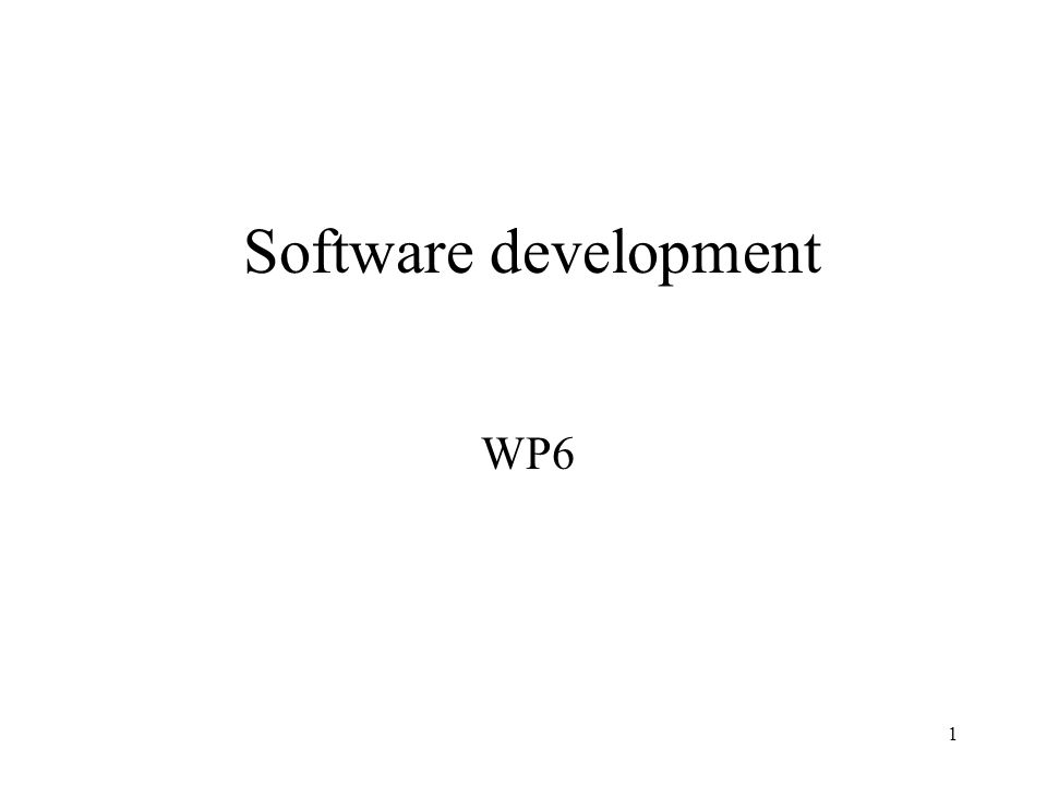 1 Software development WP6