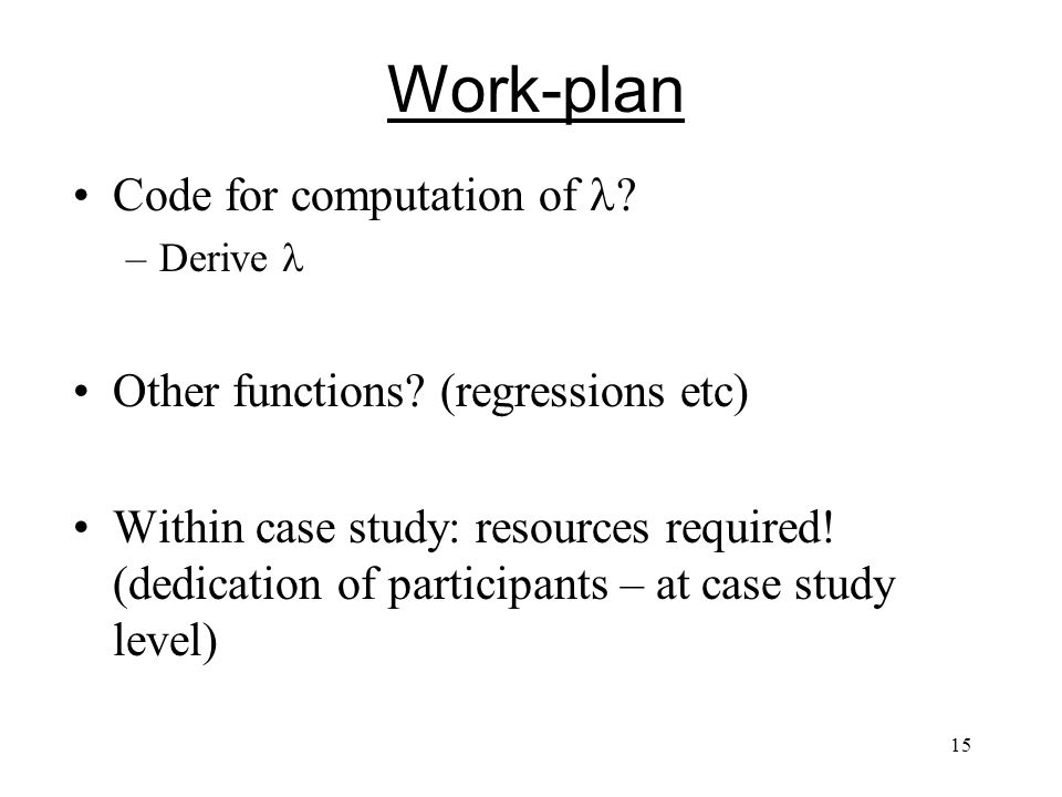 15 Code for computation of . –Derive Other functions.