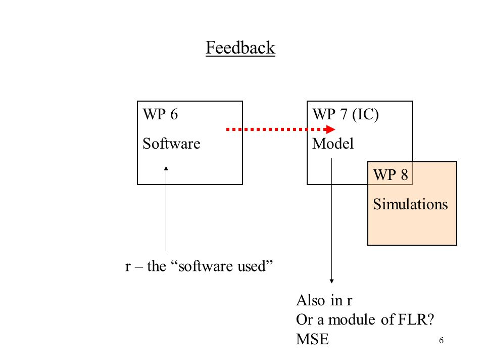 6 Feedback WP 6 Software WP 7 (IC) Model WP 8 Simulations r – the software used Also in r Or a module of FLR.