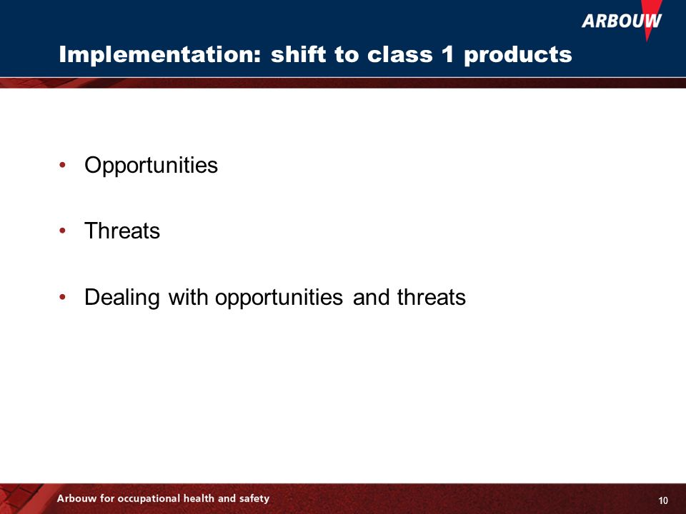 10 Implementation: shift to class 1 products Opportunities Threats Dealing with opportunities and threats