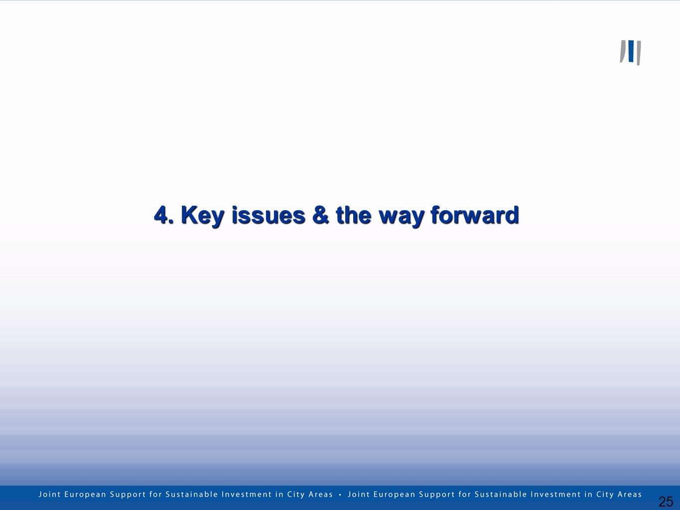 25 4. Key issues & the way forward