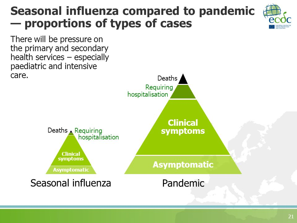 21 Seasonal influenza compared to pandemic proportions of types of cases Asymptomatic Clinical symptoms Deaths Requiring hospitalisation Seasonal influenza Pandemic Asymptomatic Clinical symptoms Deaths Requiring hospitalisation There will be pressure on the primary and secondary health services – especially paediatric and intensive care.