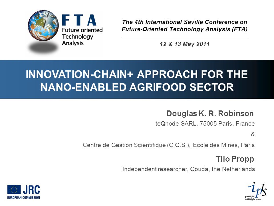 INNOVATION-CHAIN+ APPROACH FOR THE NANO-ENABLED AGRIFOOD SECTOR Douglas K.