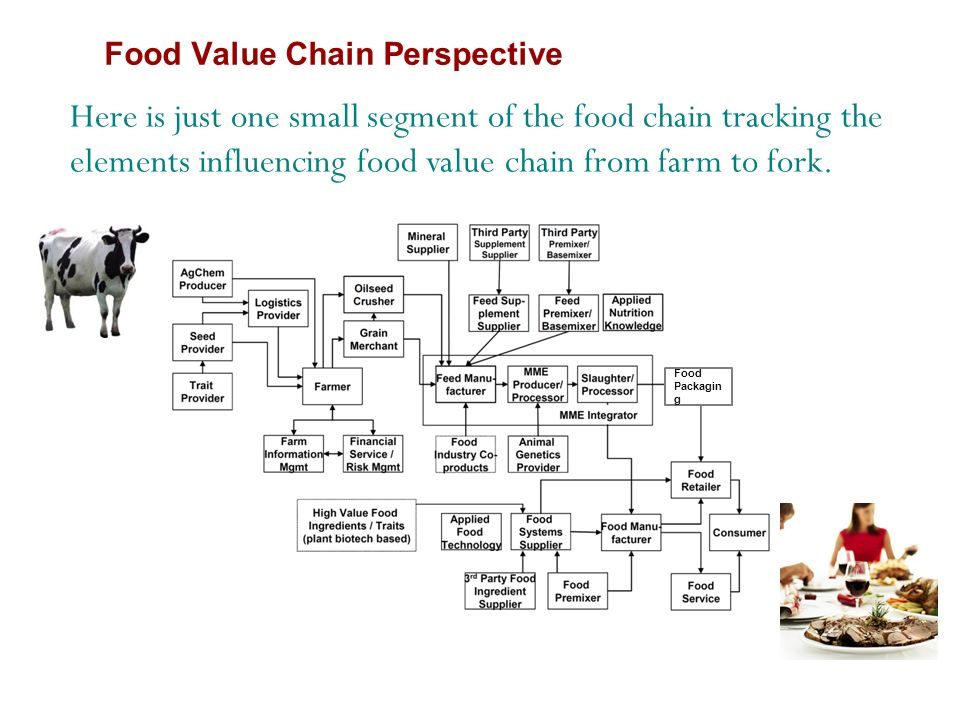 Food Packagin g Here is just one small segment of the food chain tracking the elements influencing food value chain from farm to fork.