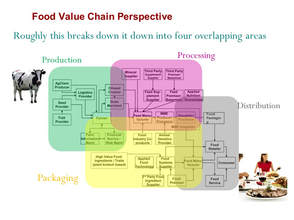 Food Packagin g Production Processing Packaging Distribution Roughly this breaks down it down into four overlapping areas Food Value Chain Perspective