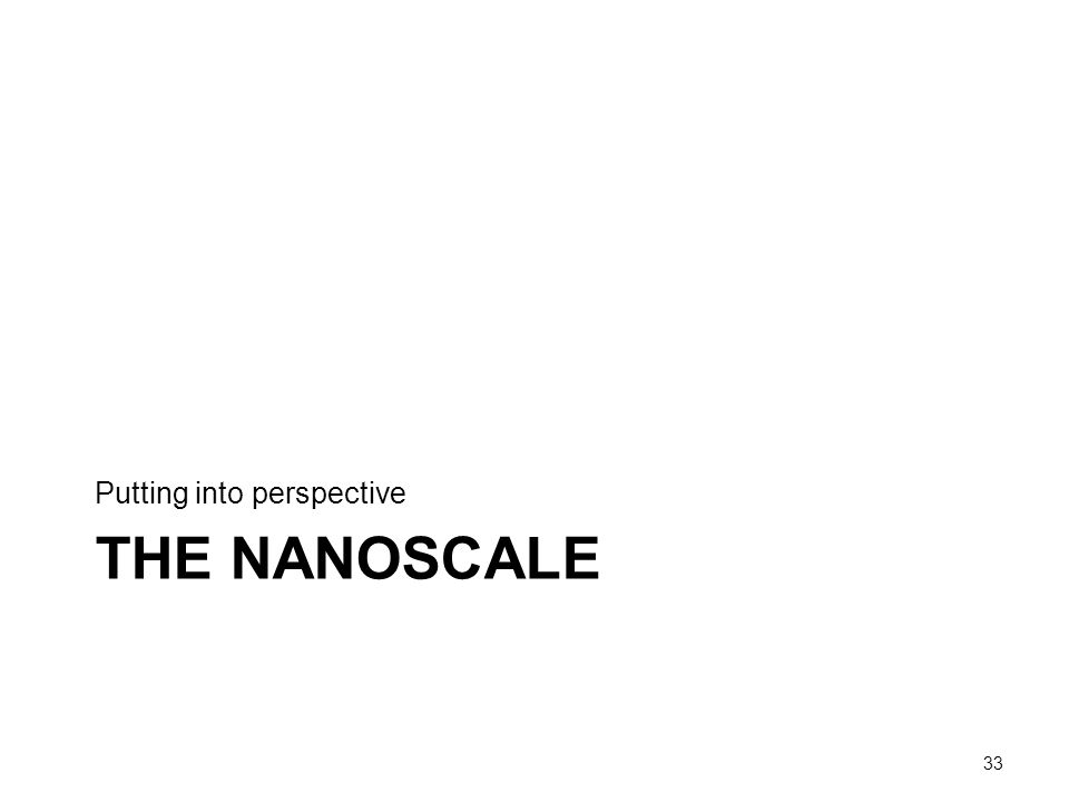 THE NANOSCALE Putting into perspective 33