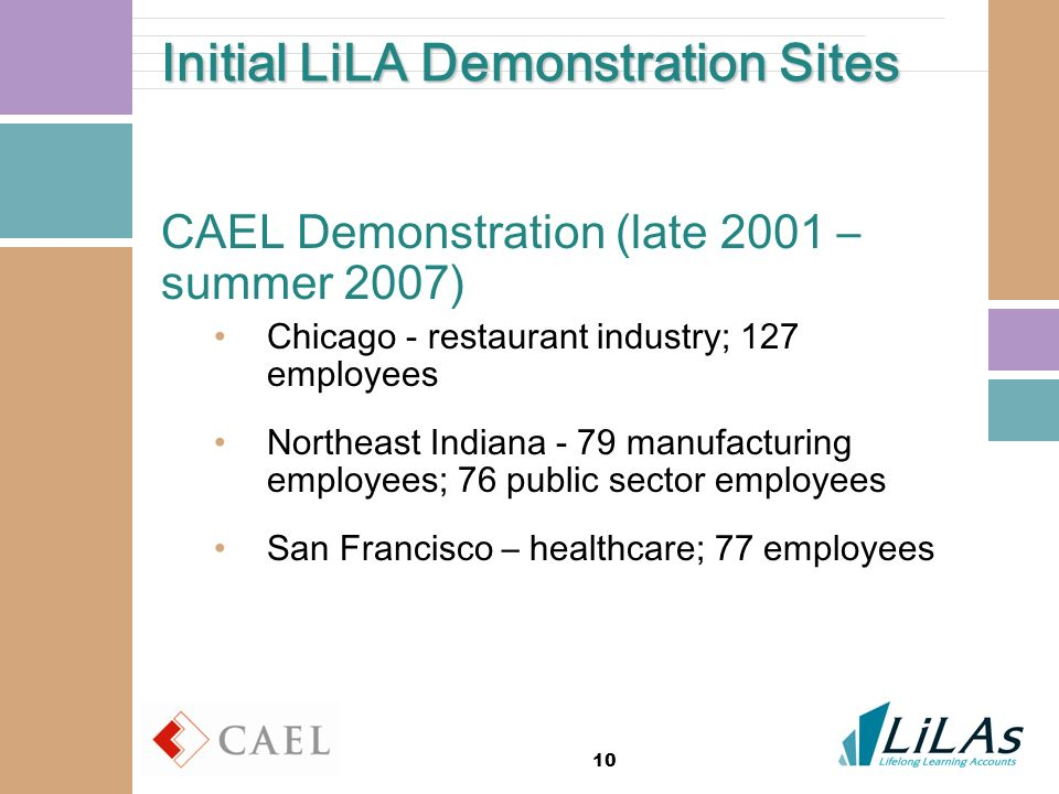 10 Initial LiLA Demonstration Sites CAEL Demonstration (late 2001 – summer 2007) Chicago - restaurant industry; 127 employees Northeast Indiana - 79 manufacturing employees; 76 public sector employees San Francisco – healthcare; 77 employees