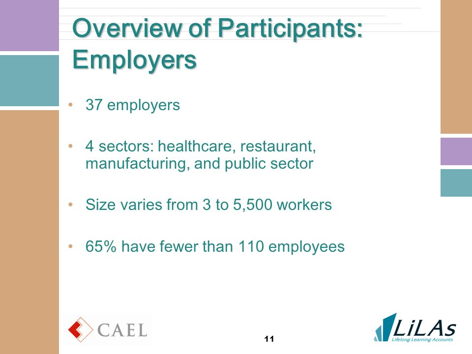 11 Overview of Participants: Employers 37 employers 4 sectors: healthcare, restaurant, manufacturing, and public sector Size varies from 3 to 5,500 workers 65% have fewer than 110 employees
