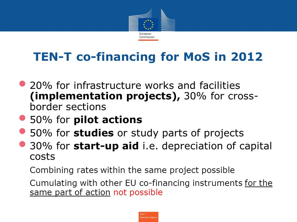 TEN-T co-financing for MoS in 2012 20% for infrastructure works and facilities (implementation projects), 30% for cross- border sections 50% for pilot