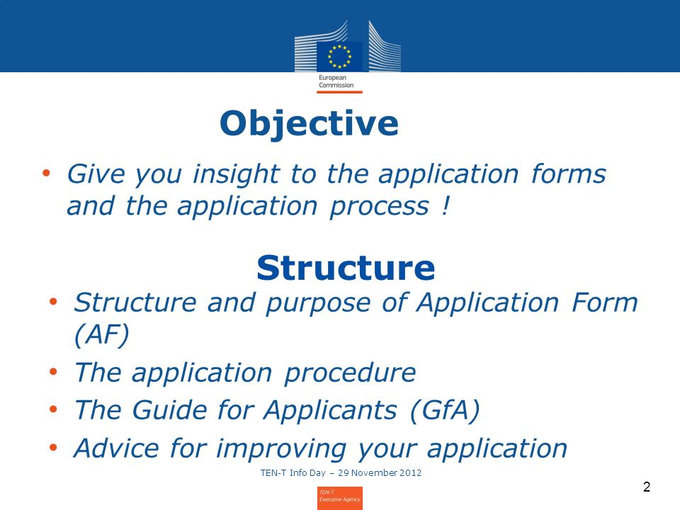 2 Objective Give you insight to the application forms and the application process ! 2 Structure and purpose of Application Form (AF) The application p