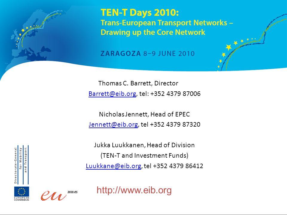 http://www.eib.org Thomas C. Barrett, Director Barrett@eib.orgBarrett@eib.org, tel: +352 4379 87006 Nicholas Jennett, Head of EPEC Jennett@eib.orgJenn