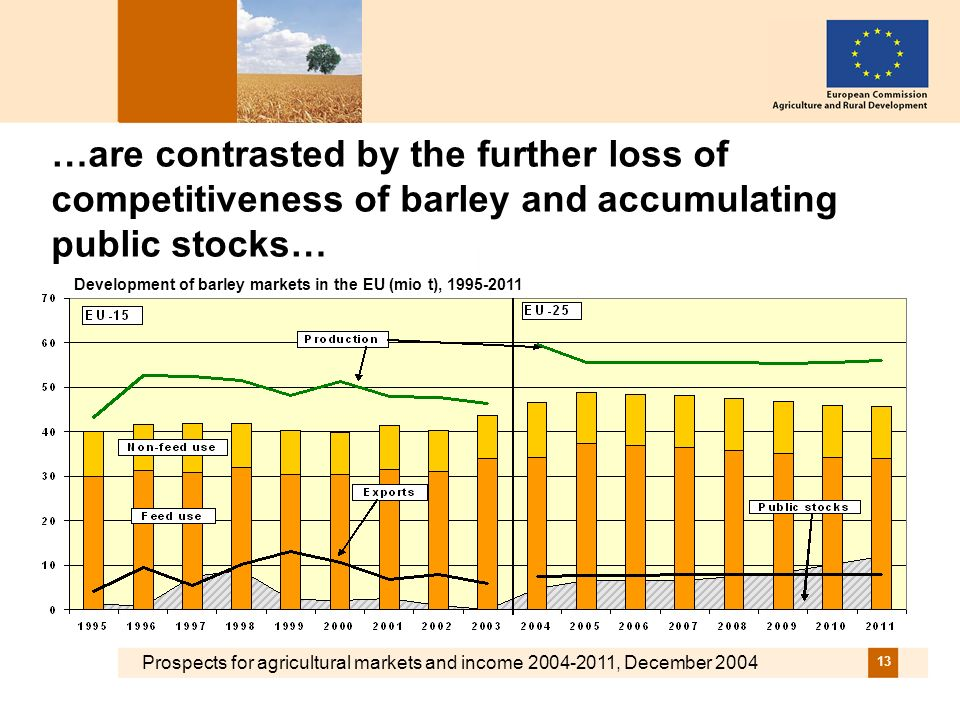Prospects for agricultural markets and income 2004-2011, December 2004 13 …are contrasted by the further loss of competitiveness of barley and accumulating public stocks… Development of barley markets in the EU (mio t), 1995-2011