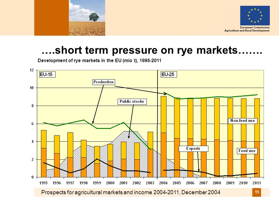 Prospects for agricultural markets and income 2004-2011, December 2004 15 ….short term pressure on rye markets…….