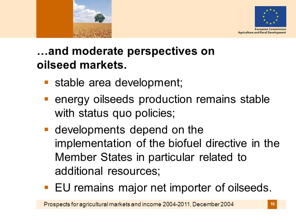Prospects for agricultural markets and income 2004-2011, December 2004 16 …and moderate perspectives on oilseed markets.