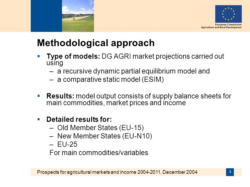 Prospects for agricultural markets and income 2004-2011, December 2004 3 Methodological approach Type of models: DG AGRI market projections carried out using –a recursive dynamic partial equilibrium model and –a comparative static model (ESIM) Results: model output consists of supply balance sheets for main commodities, market prices and income Detailed results for: –Old Member States (EU-15) –New Member States (EU-N10) –EU-25 For main commodities/variables