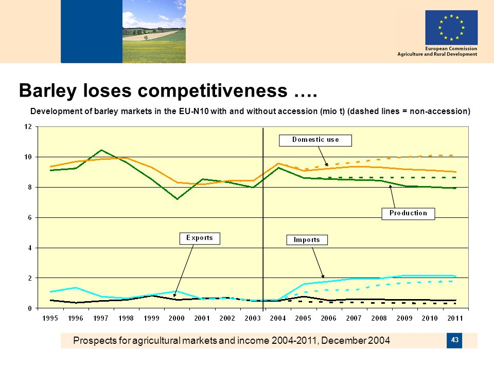 Prospects for agricultural markets and income 2004-2011, December 2004 43 Barley loses competitiveness ….