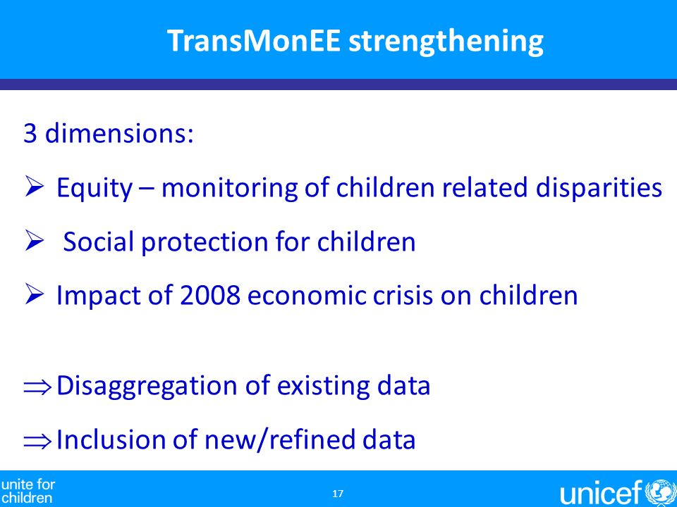 TransMonEE strengthening 17 3 dimensions: Equity – monitoring of children related disparities Social protection for children Impact of 2008 economic crisis on children Disaggregation of existing data Inclusion of new/refined data