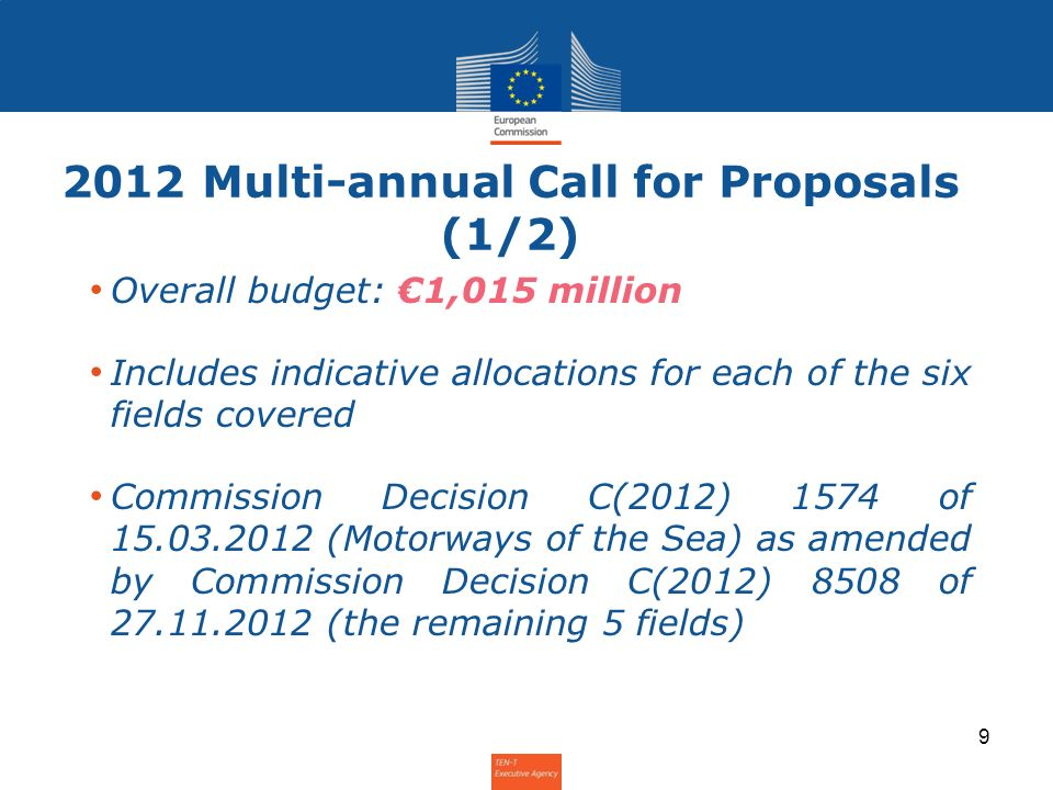 2012 Multi-annual Call for Proposals (2/2) 725 millionPriority Projects (PPs) 725 million 80 millionMotorways of the Sea (PP 21) 80 million Traffic Management Systems: 100 millionEuropean Rail Traffic Management System (ERTMS) 100 million 10 millionRiver Information Services (RIS) 10 million 50 millionAir Traffic Management (ATM) 50 million 50 millionIntelligent Transport Systems (ITS), including the European Electronic Toll Service (EETS) 50 million TEN-T Info Day 2012 – 29 November 2012 10