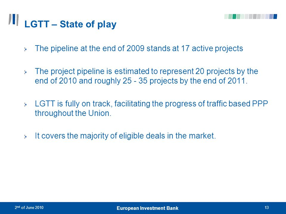 2 nd of June 201013 European Investment Bank LGTT – State of play The pipeline at the end of 2009 stands at 17 active projects The project pipeline is