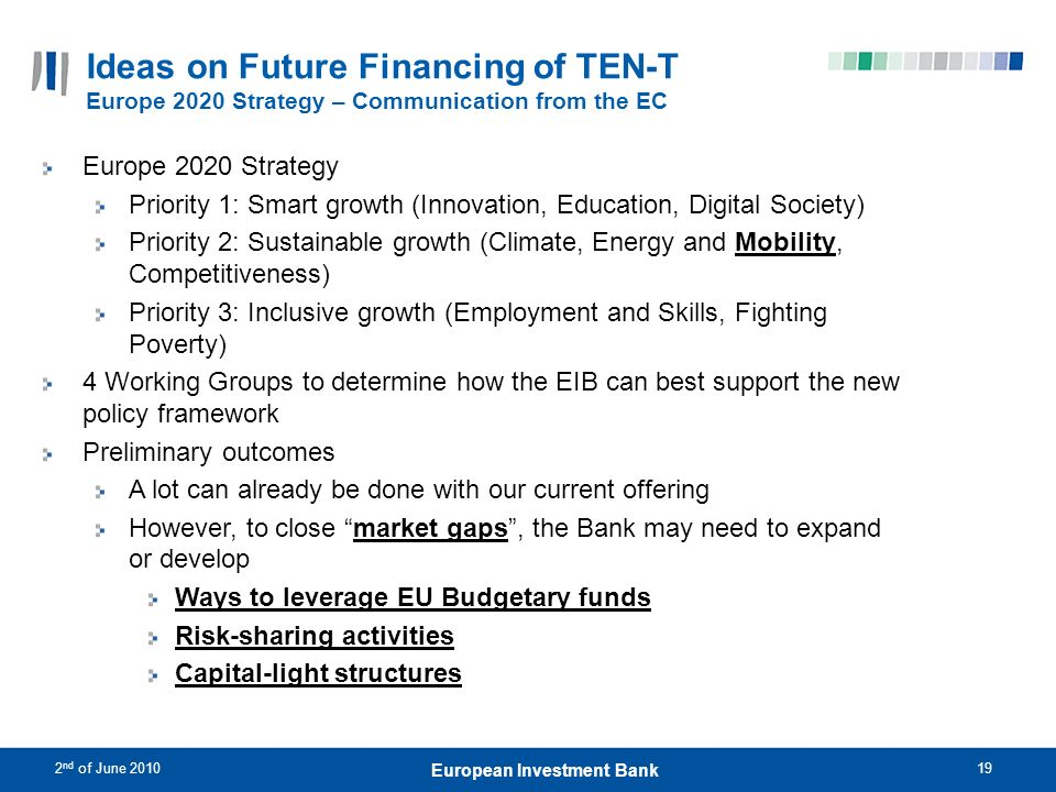 2 nd of June 201019 European Investment Bank Ideas on Future Financing of TEN-T Europe 2020 Strategy – Communication from the EC Europe 2020 Strategy