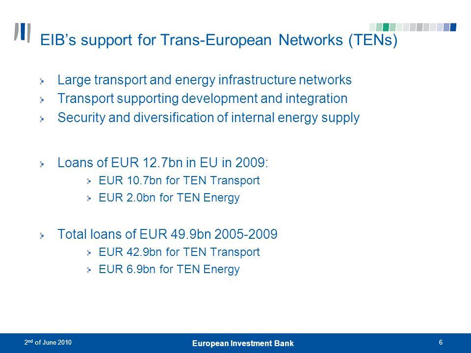 2 nd of June 20107 European Investment Bank Clear step-up in EIB TEN lending activity EIB Funding200420052006200720082009 TEN7.98.28.39.712.613.9 TEN-E1.30.90.41.42.72.0 TEN-T6.67.37.98.39.911.9 TEN-T Priority Projects2.22.92.73.13.21.8 Other Projects4.4 5.2 6.710.1 PPP in TEN-T0.30.21.30.92.91.1 Senior loans6.67.17.97.88.311.1 SFF in TEN-T0.00.20.00.51.60.8 Percentage of total TEN- T in Rail 40%42%37%46%27%