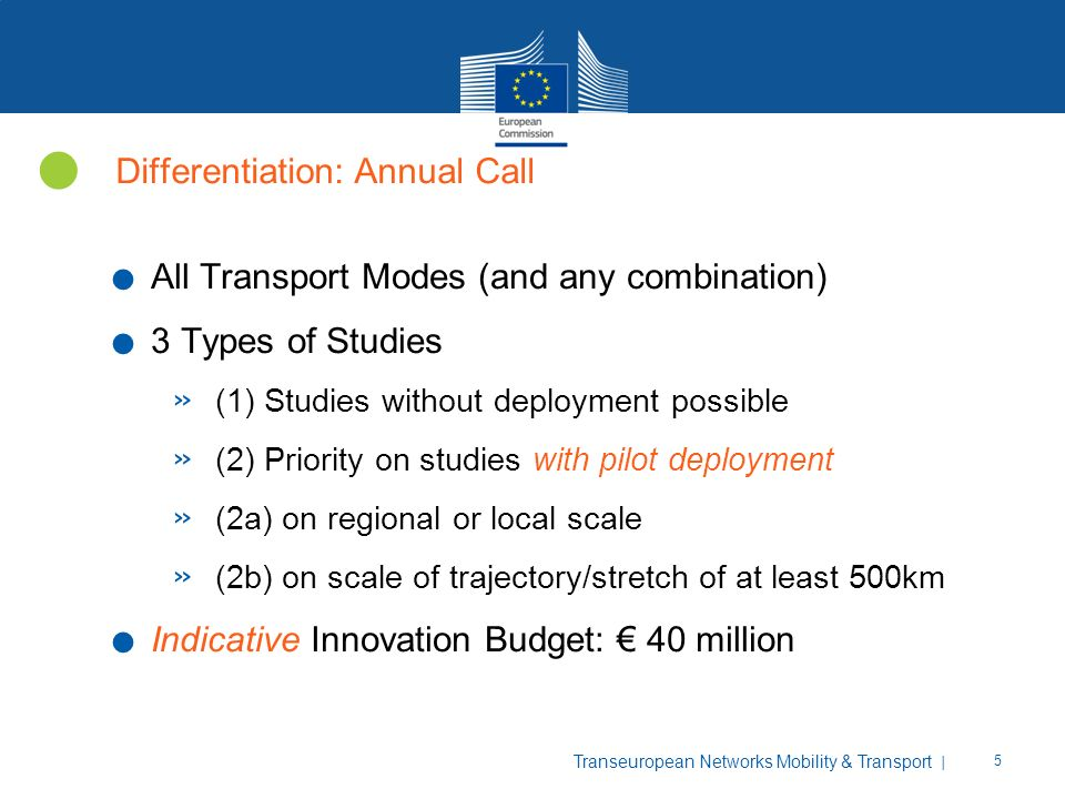 | 5 Transeuropean Networks Mobility & Transport Differentiation: Annual Call. All Transport Modes (and any combination). 3 Types of Studies » (1) Stud