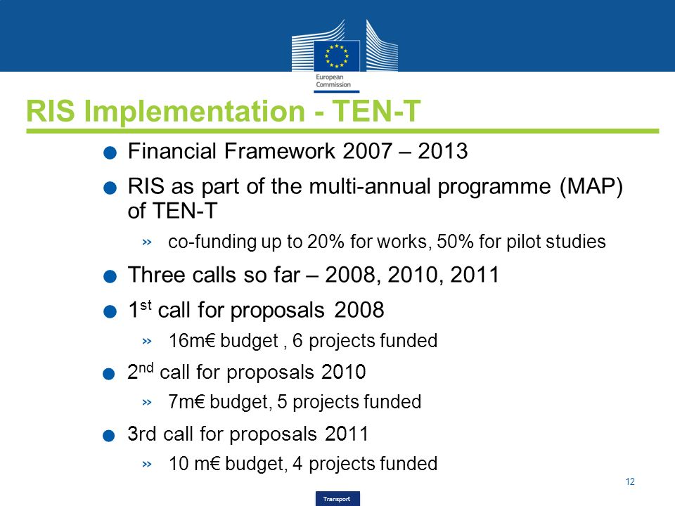 12 Transport RIS Implementation - TEN-T. Financial Framework 2007 – 2013. RIS as part of the multi-annual programme (MAP) of TEN-T » co-funding up to